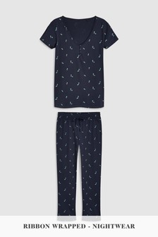 Holly Print Pyjamas With Ribbon Wrapping