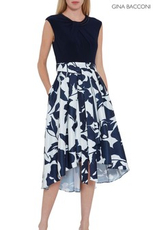 Gina Bacconi Blue Gizela Floral Dress