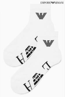 Emporio Armani White Trainer Sock Two Pack