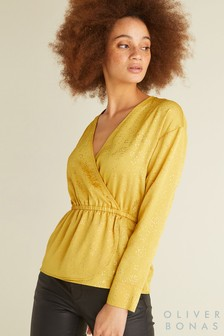 Oliver Bonas Yellow Foil Spot Wrap Top