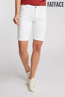 FatFace White Gemma Garment Dye Bermuda Short