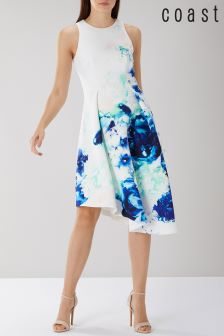 Coast White Spears Print Scuba Midi Dress