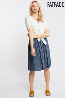 FatFace Blue Paige Geo Tile Pleated Skirt