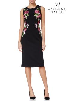Adrianna Papell Knit Crepe Embroidered Sheath Dress