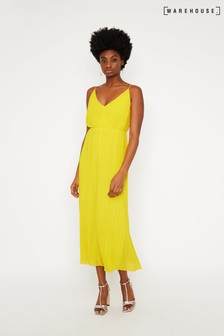 Warehouse Yellow Pleated Dress