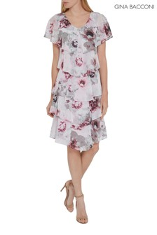 Gina Bacconi Pink Gosia Floral Chiffon Tiered Dress