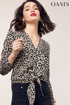 Oasis Animal Print Tie Front Shirt