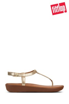 FitFlop™ Pale Gold Leather Tia™ Toe Post Sandal