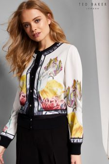 Ted Baker Olyviaa White Floral Woven Bomber Jacket