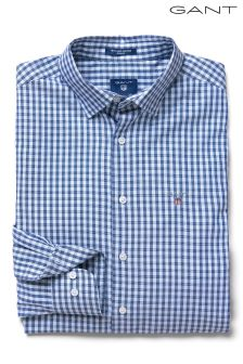 GANT Blue TechPrep Oxford Gingham Regular Fit Shirt