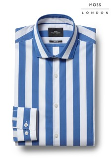 Moss London Skinny Fit Blue Single Wide Stripe Stretch Shirt