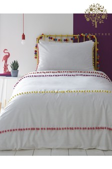 Appletree Pom Pom Stripe Cotton Duvet Cover and Pillowcase Set