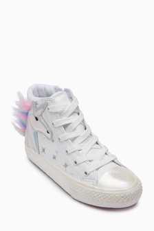 Unicorn Embellished Hi Top Trainers (Older)