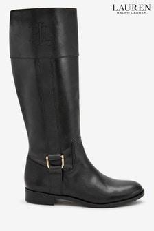 Čierne vysoké kožené čižmy Ralph Lauren s vtlačeným logom