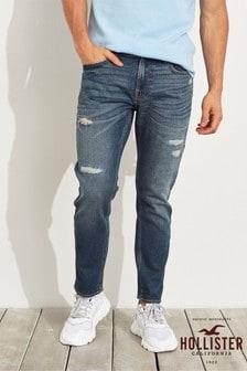 Темные выбеленные рваные супероблегающие джинсы Hollister