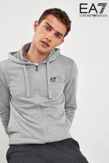 EA7 Grey Logo Zip Hoody