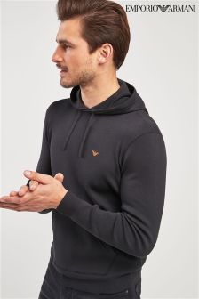 Emporio Armani Black Knitted Overhead Hoody
