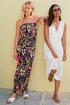 Трикотажное платье макси с цветочным принтом