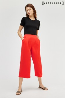Warehouse Red Soft Pleat Culottes