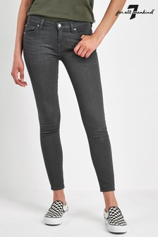 7 For All Mankind Grey Skinny Crop Stretch Jean