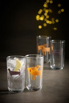 Set of 4 Dog Tumbler Glasses
