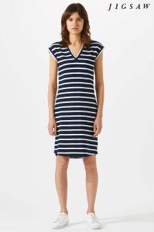 Jigsaw Blue V Neck Breton TShirt Dress