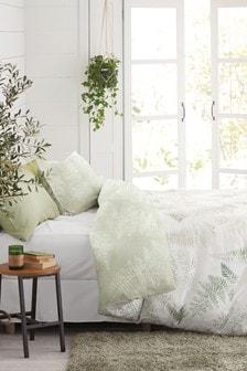 Комплект постельного белья из хлопкового сатина с цифровым принтом папоротника