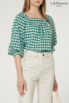L.K.Bennett Green Saffron Boat Neck Gingham Top