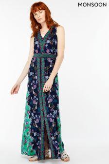 Monsoon Blue Rae Print Maxi Dress