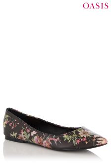 Oasis Black Secret Garden Flat Shoe