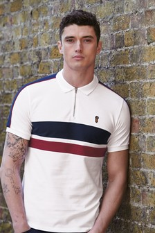 Block Stripe Zip Neck Polo
