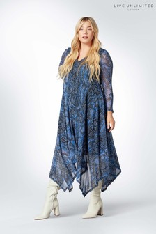 Live Unlimited Blue Cornflower Snake Mesh Dress