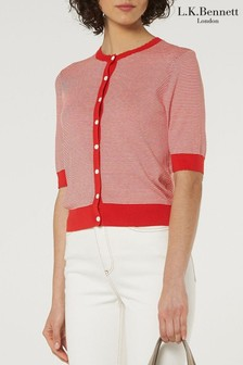 L.K.Bennett Red Valency Silk And Cotton Cardigan