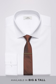 Slim Fit Shirt With Bronze Tie And Tie Clip Set