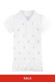 Ralph Lauren Kids Baby Girls White Cotton Logo Polo Dress