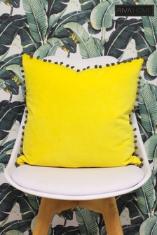 Riva Home Velvet Pom Pom Cushion