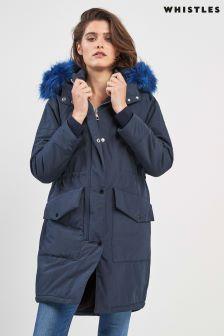 Whistles Navy Megan Faux Fur Hood Coat