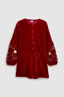 Velour Embroidered Playsuit (3-16yrs)