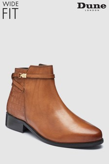 Dune Wide Fit Peppey Tan Ankle Boot