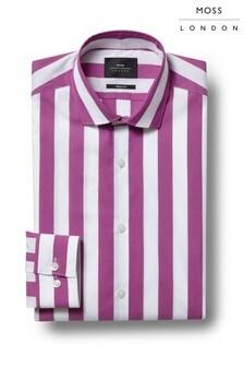 Moss London Skinny Fit Violet Single Stripe Stretch Shirt