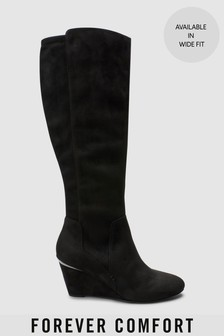 Forever Comfort Knee High Wedge Boots