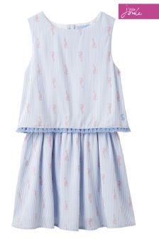 Joules Blue Stripe Imogen Woven Double Layer Dress