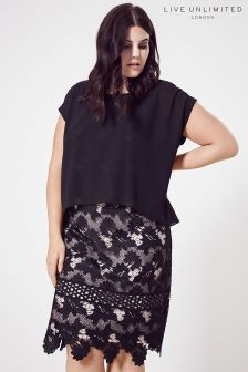 Live Unlimited Contrast Lined Lace Overlay Dress