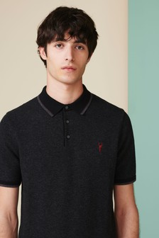 Short Sleeve Textured Tipped Polo