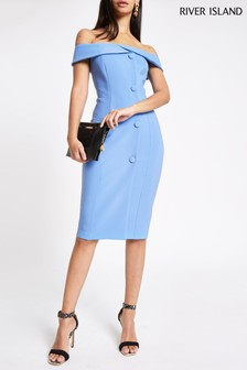 River Island Light Blue Bodycon Midi Dress