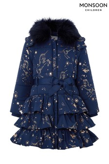 Monsoon Navy Gemini Unicorn Padded Coat