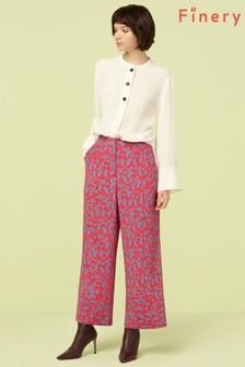 Finery London Red Rosalie Cropped Trouser