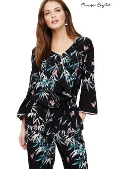 Phase Eight Black Multi Jay Print Wrap Blouse