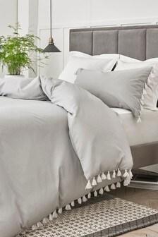 Tassels Trim Duvet Cover and Pillowcase Set