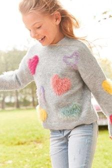 Fluffy Heart Jumper (3-16yrs)